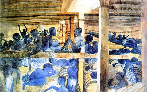 Drawing of Africans packed in a slave ship